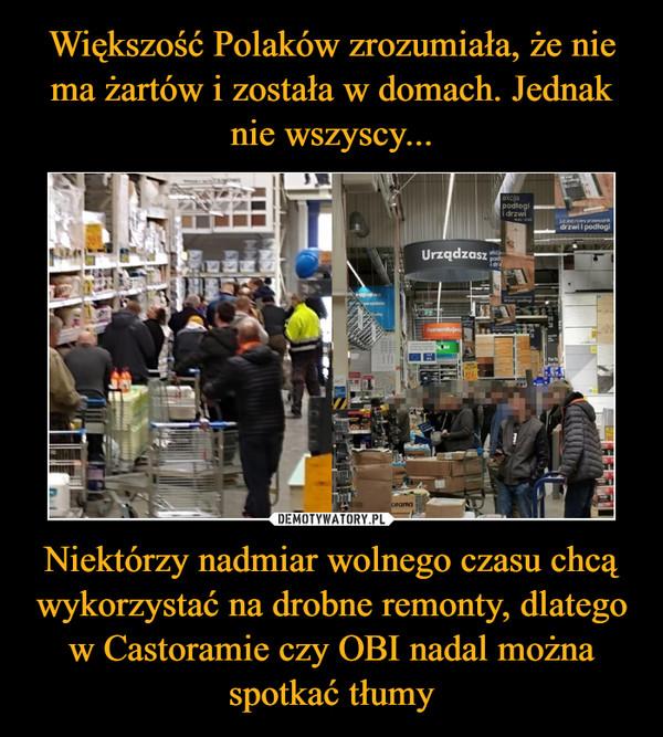 Niektórzy nadmiar wolnego czasu chcą wykorzystać na drobne remonty, dlatego w Castoramie czy OBI nadal można spotkać tłumy –
