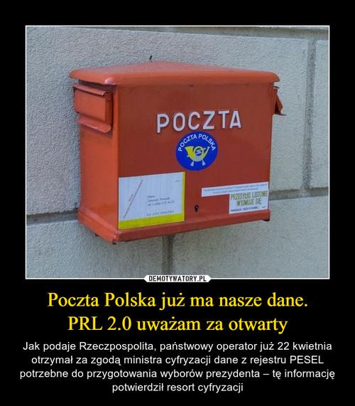 Poczta Polska już ma nasze dane. PRL 2.0 uważam za otwarty