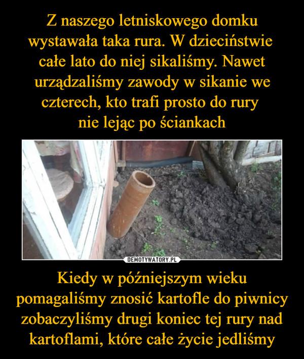 Kiedy w późniejszym wieku pomagaliśmy znosić kartofle do piwnicy zobaczyliśmy drugi koniec tej rury nad kartoflami, które całe życie jedliśmy –