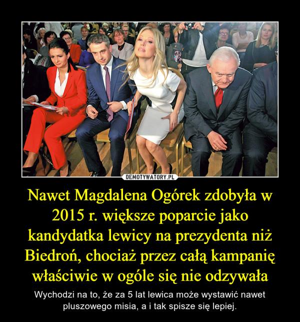 Nawet Magdalena Ogórek zdobyła w 2015 r. większe poparcie jako kandydatka lewicy na prezydenta niż Biedroń, chociaż przez całą kampanię właściwie w ogóle się nie odzywała – Wychodzi na to, że za 5 lat lewica może wystawić nawet pluszowego misia, a i tak spisze się lepiej.