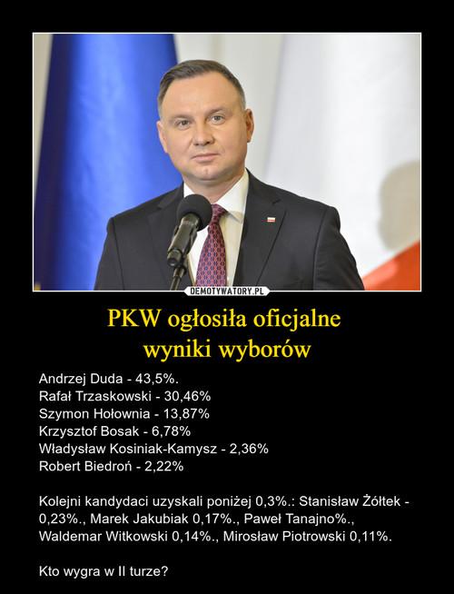 PKW ogłosiła oficjalne  wyniki wyborów