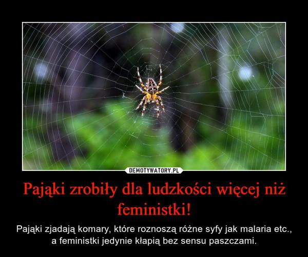 Pająki zrobiły dla ludzkości więcej niż feministki! – Pająki zjadają komary, które roznoszą różne syfy jak malaria etc., a feministki jedynie kłapią bez sensu paszczami.