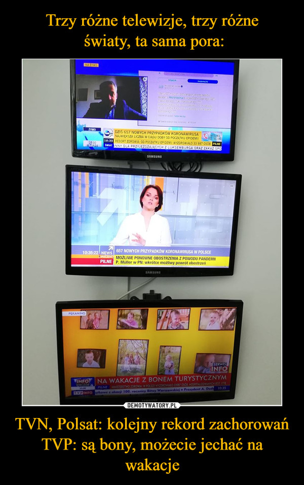 TVN, Polsat: kolejny rekord zachorowańTVP: są bony, możecie jechać na wakacje –