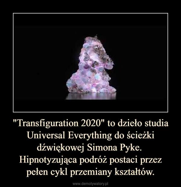 """""""Transfiguration 2020"""" to dzieło studia Universal Everything do ścieżki dźwiękowej Simona Pyke. Hipnotyzująca podróż postaci przez pełen cykl przemiany kształtów. –"""