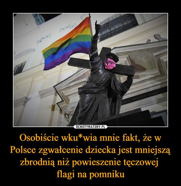 Osobiście wku*wia mnie fakt, że w Polsce zgwałcenie dziecka jest mniejszą zbrodnią niż powieszenie tęczowej flagi na pomniku –