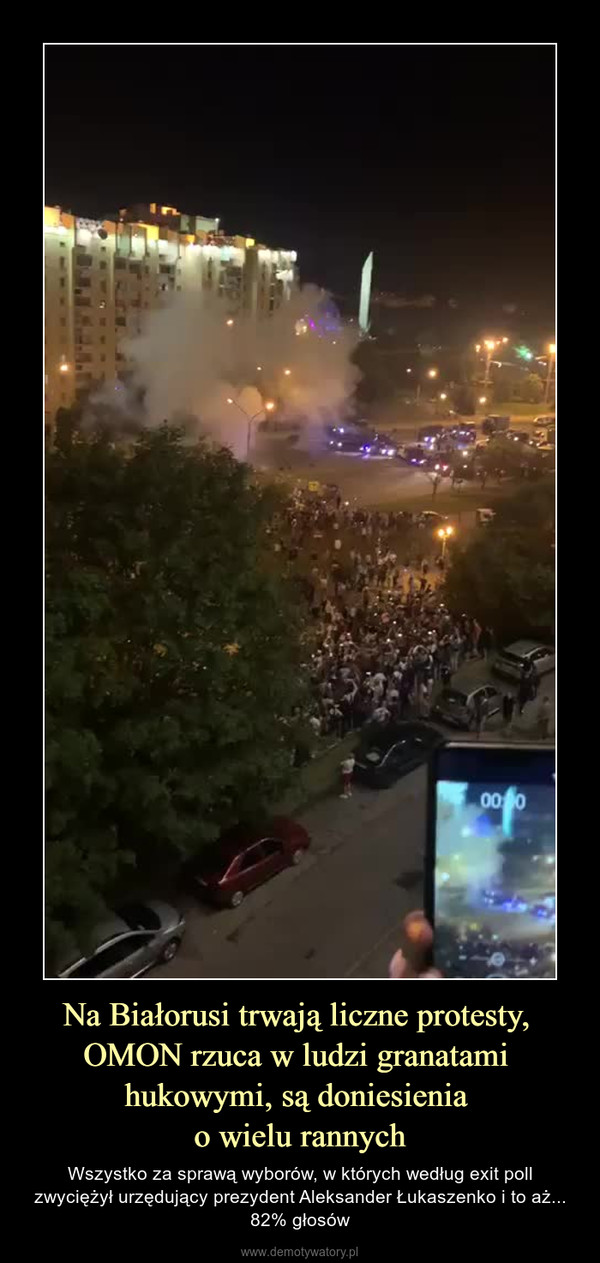 Na Białorusi trwają liczne protesty, OMON rzuca w ludzi granatami hukowymi, są doniesienia o wielu rannych – Wszystko za sprawą wyborów, w których według exit poll zwyciężył urzędujący prezydent Aleksander Łukaszenko i to aż... 82% głosów