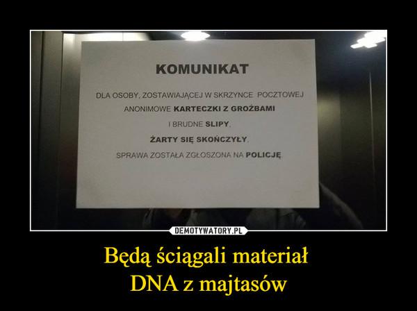 Będą ściągali materiał DNA z majtasów –