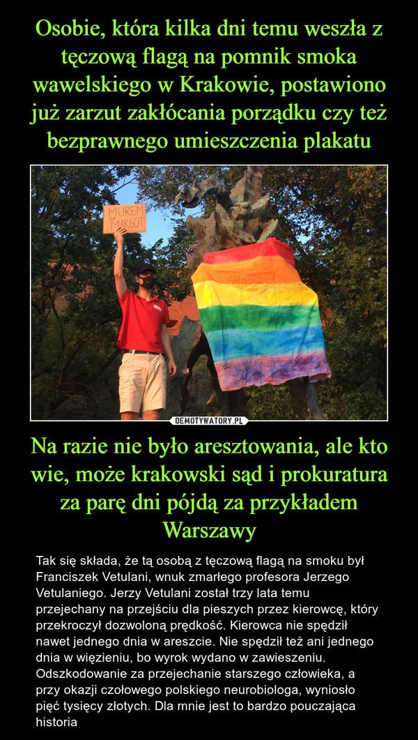 Na razie nie było aresztowania, ale kto wie, może krakowski sąd i prokuratura za parę dni pójdą za przykładem Warszawy – Tak się składa, że tą osobą z tęczową flagą na smoku był Franciszek Vetulani, wnuk zmarłego profesora Jerzego Vetulaniego. Jerzy Vetulani został trzy lata temu przejechany na przejściu dla pieszych przez kierowcę, który przekroczył dozwoloną prędkość. Kierowca nie spędził nawet jednego dnia w areszcie. Nie spędził też ani jednego dnia w więzieniu, bo wyrok wydano w zawieszeniu. Odszkodowanie za przejechanie starszego człowieka, a przy okazji czołowego polskiego neurobiologa, wyniosło pięć tysięcy złotych. Dla mnie jest to bardzo pouczająca historia
