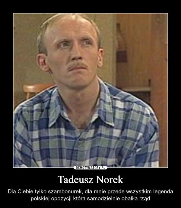 Tadeusz Norek – Dla Ciebie tylko szambonurek, dla mnie przede wszystkim legenda polskiej opozycji która samodzielnie obaliła rząd