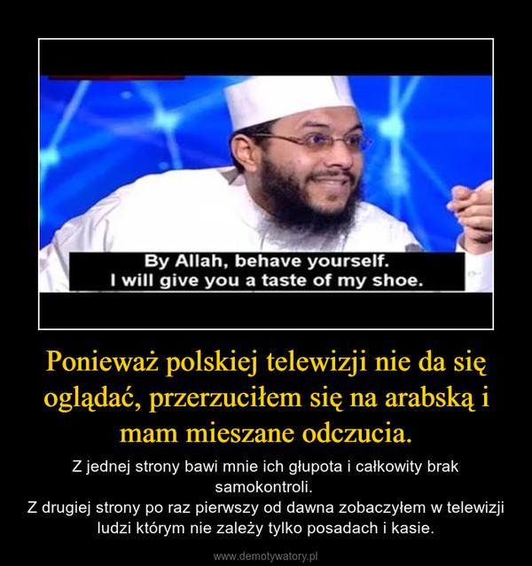 Ponieważ polskiej telewizji nie da się oglądać, przerzuciłem się na arabską i mam mieszane odczucia. – Z jednej strony bawi mnie ich głupota i całkowity brak samokontroli. Z drugiej strony po raz pierwszy od dawna zobaczyłem w telewizji ludzi którym nie zależy tylko posadach i kasie.