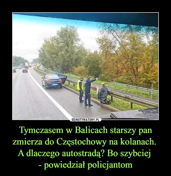 Tymczasem w Balicach starszy pan zmierza do Częstochowy na kolanach. A dlaczego autostradą? Bo szybciej - powiedział policjantom –