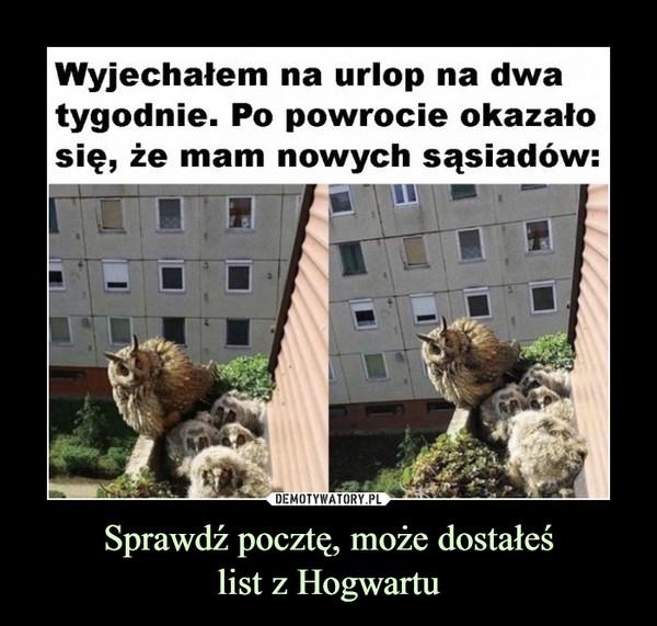 Sprawdź pocztę, może dostałeślist z Hogwartu –  Wyjechałem na urlop na dwa tygodnie. Po powrocie okazało się, że mam nowych sąsiadów: