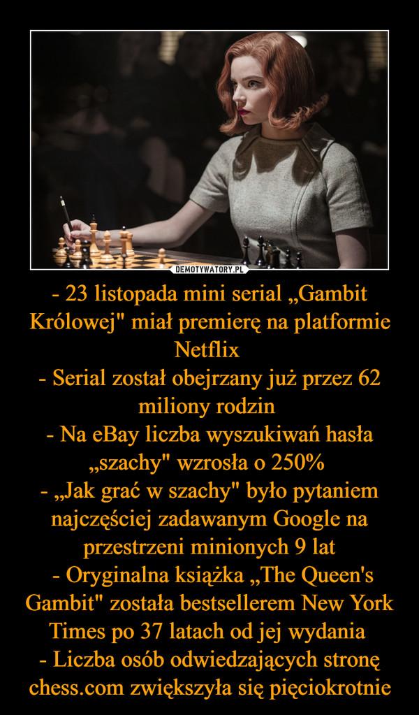 """- 23 listopada mini serial """"Gambit Królowej"""" miał premierę na platformie Netflix - Serial został obejrzany już przez 62 miliony rodzin - Na eBay liczba wyszukiwań hasła """"szachy"""" wzrosła o 250% - """"Jak grać w szachy"""" było pytaniem najczęściej zadawanym Google na przestrzeni minionych 9 lat - Oryginalna książka """"The Queen's Gambit"""" została bestsellerem New York Times po 37 latach od jej wydania - Liczba osób odwiedzających stronę chess.com zwiększyła się pięciokrotnie –"""