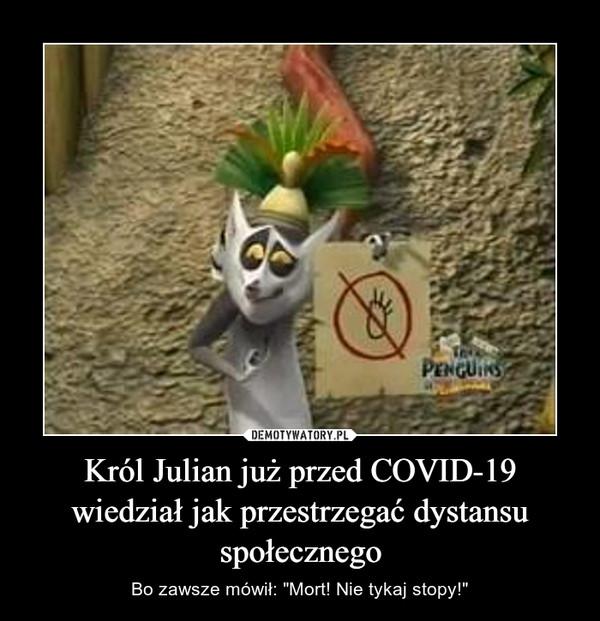"""Król Julian już przed COVID-19 wiedział jak przestrzegać dystansu społecznego – Bo zawsze mówił: """"Mort! Nie tykaj stopy!"""""""