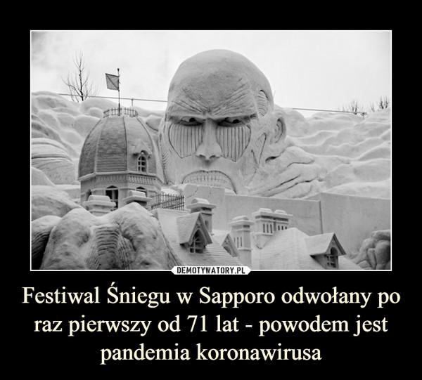 Festiwal Śniegu w Sapporo odwołany po raz pierwszy od 71 lat - powodem jest pandemia koronawirusa –