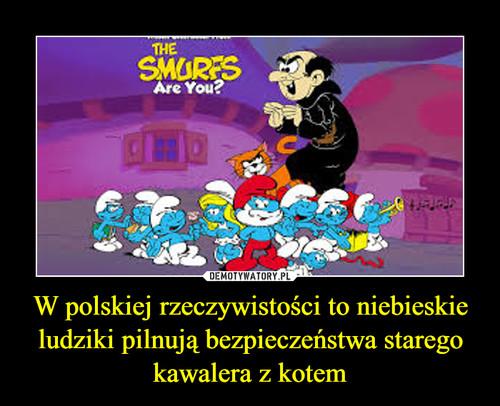 W polskiej rzeczywistości to niebieskie ludziki pilnują bezpieczeństwa starego kawalera z kotem