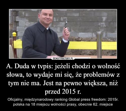 A. Duda w tvpis: jeżeli chodzi o wolność słowa, to wydaje mi się, że problemów z tym nie ma. Jest na pewno większa, niż przed 2015 r.