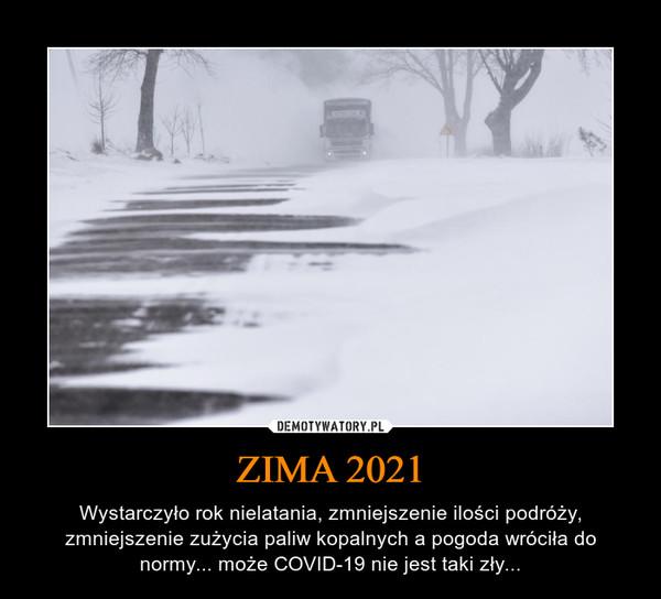 ZIMA 2021 – Wystarczyło rok nielatania, zmniejszenie ilości podróży, zmniejszenie zużycia paliw kopalnych a pogoda wróciła do normy... może COVID-19 nie jest taki zły...