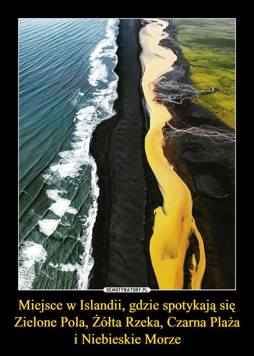 Miejsce w Islandii, gdzie spotykają się Zielone Pola, Żółta Rzeka, Czarna Plaża i Niebieskie Morze