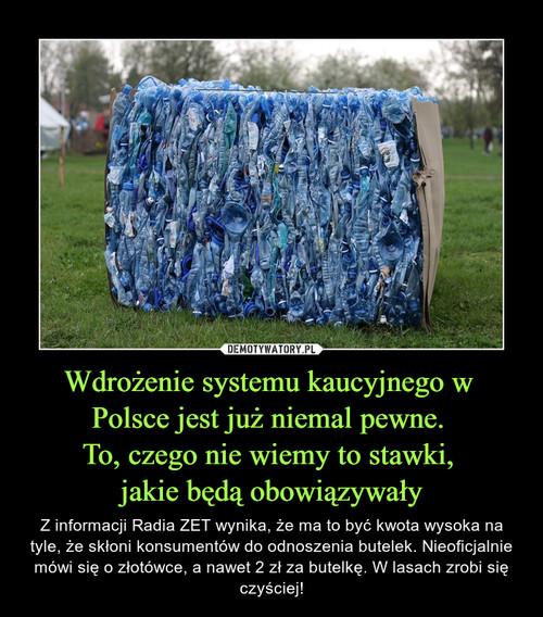Wdrożenie systemu kaucyjnego w  Polsce jest już niemal pewne.  To, czego nie wiemy to stawki,  jakie będą obowiązywały