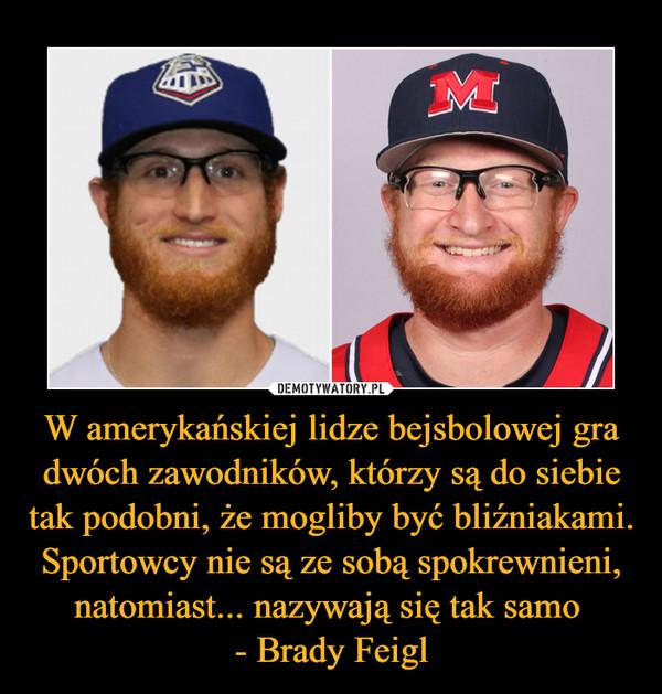 W amerykańskiej lidze bejsbolowej gra dwóch zawodników, którzy są do siebie tak podobni, że mogliby być bliźniakami. Sportowcy nie są ze sobą spokrewnieni, natomiast... nazywają się tak samo - Brady Feigl –