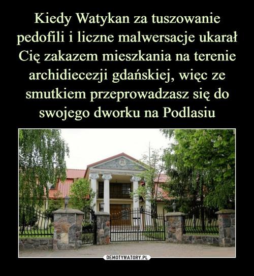 Kiedy Watykan za tuszowanie pedofili i liczne malwersacje ukarał Cię zakazem mieszkania na terenie archidiecezji gdańskiej, więc ze smutkiem przeprowadzasz się do swojego dworku na Podlasiu