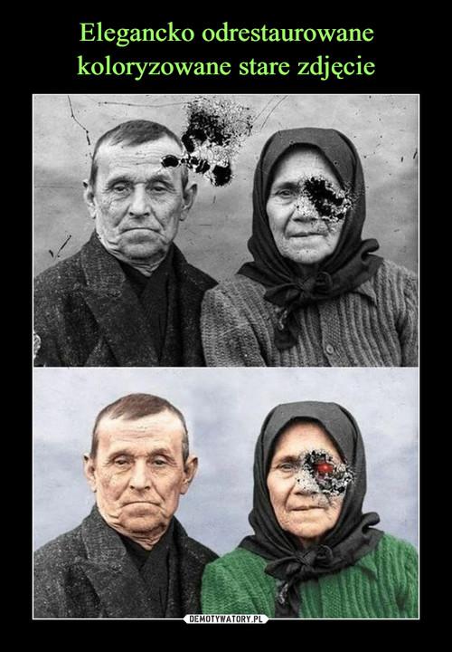 Elegancko odrestaurowane koloryzowane stare zdjęcie