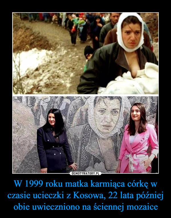 W 1999 roku matka karmiąca córkę w czasie ucieczki z Kosowa, 22 lata później obie uwieczniono na ściennej mozaice –