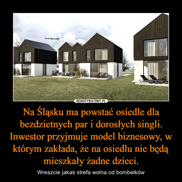 Na Śląsku ma powstać osiedle dla bezdzietnych par i dorosłych singli. Inwestor przyjmuje model biznesowy, w którym zakłada, że na osiedlu nie będą mieszkały żadne dzieci. – Wreszcie jakaś strefa wolna od bombelków