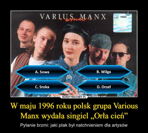 """W maju 1996 roku polsk grupa Various Manx wydała singiel """"Orła cień"""""""