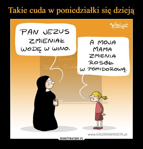 –  PAN JEZUS ZMIENIAŁ WODĘ W WINO.A MOJA MAMA ZMIENIA ROSOŁ W POMIDOROWĄ.