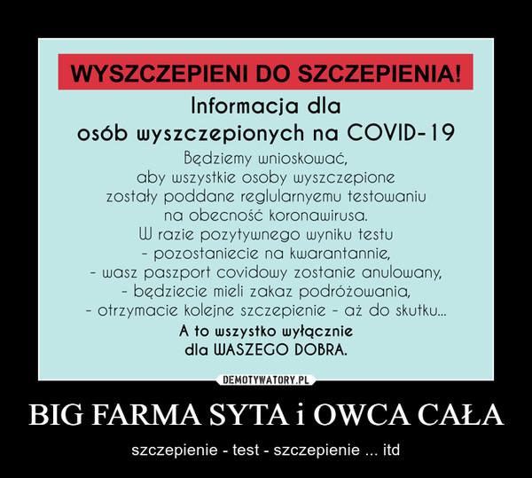BIG FARMA SYTA i OWCA CAŁA – szczepienie - test - szczepienie ... itd