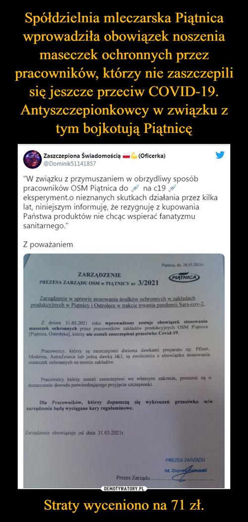 Spółdzielnia mleczarska Piątnica wprowadziła obowiązek noszenia maseczek ochronnych przez pracowników, którzy nie zaszczepili się jeszcze przeciw COVID-19. Antyszczepionkowcy w związku z tym bojkotują Piątnicę Straty wyceniono na 71 zł.