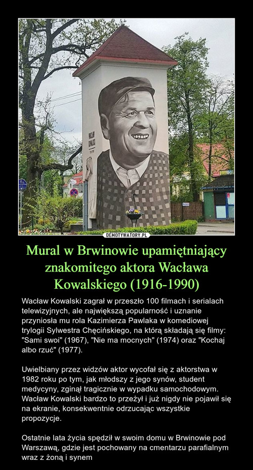 Mural w Brwinowie upamiętniający znakomitego aktora Wacława Kowalskiego (1916-1990)